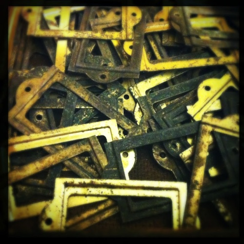 Old Brass Drawer Nameplate Hardware at What Cheer? (Photo by Kim O'Brien)
