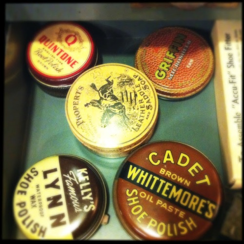 Antique / Vintage Shoe Polish Tins at What Cheer (Photo by Kim O'Brien)