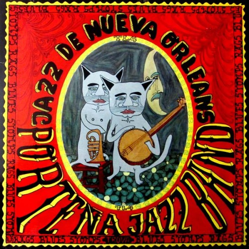 Portena Jazz Band Jazz De Nueva New Orleans LP Album Cover with Cats playing Banjo and Trumpet
