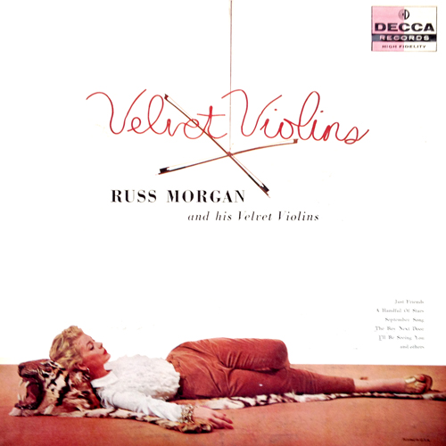 Russ Morgan Velvet Violins LP Cover with Woman Lying on Tiger Pelt Skin Rug