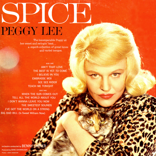 Peggy Lee Sugar N Spice Album Cover with Cat Photo on Back