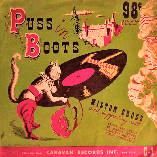 puss in boots record cover with cat on it