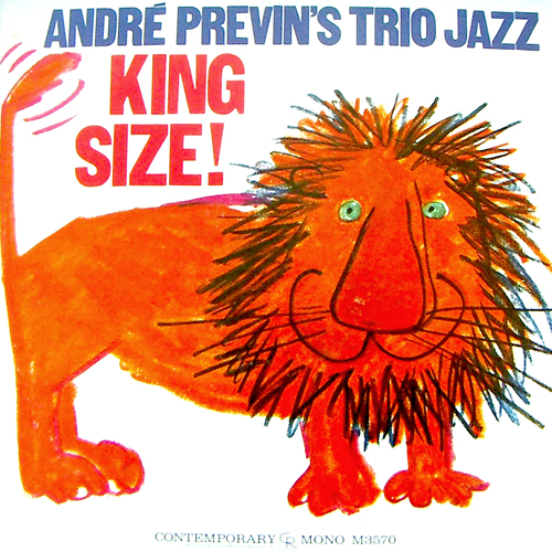 Andre Previn's Trio Jazz King Size LP Record Album Cover with Lion Cat Cover Art