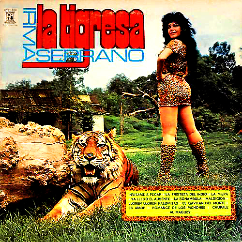 irma serrano la tigressa lp record album cover with tiger cat artwork