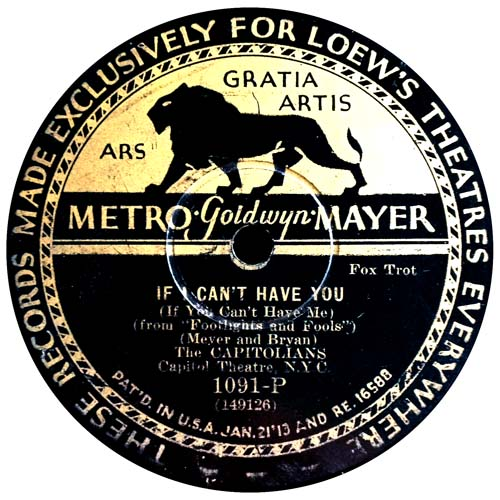 Metro Goldwyn Mayer MGM Record Label with Lion Cat On It