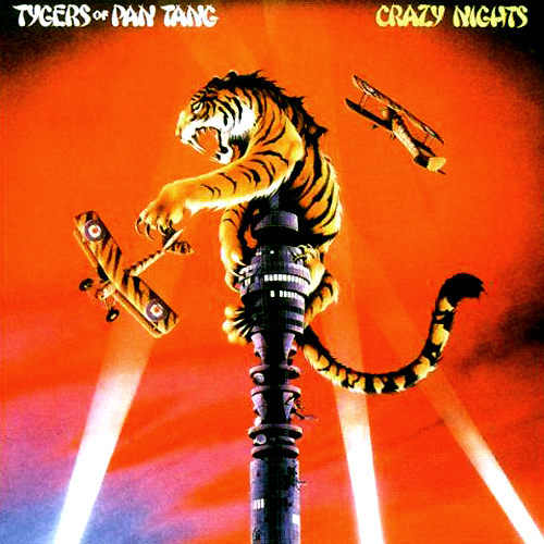 tygers of pan tang crazy night lp record album cover with tiger cat artwork