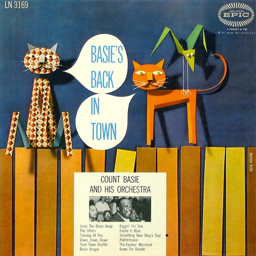 Count Basie And His Orchestra Basie's Back In Town Vinyl LP Cover with Cat Artwork