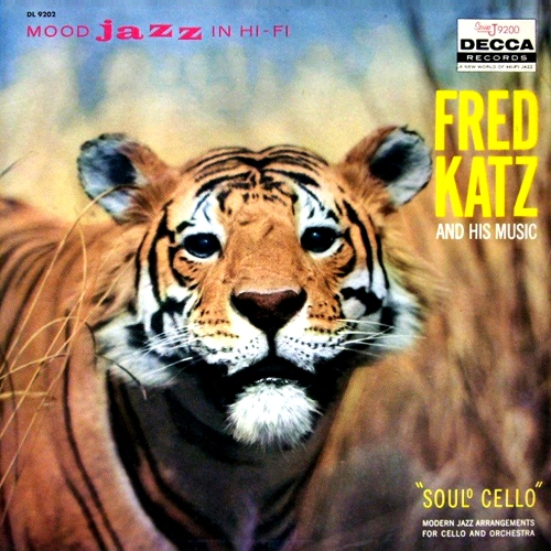 fred katz and his music soulo soul° Cello mood jazz in hi-fi lp record album cover with tiger cat artwork art