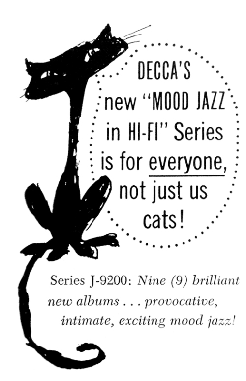 decca records ad decca's new mood jazz in hi-fi series with cat artwork