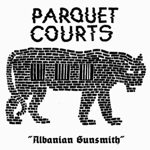 the parquet courts albanian gunsmith LP album cover with cat tiger artwork