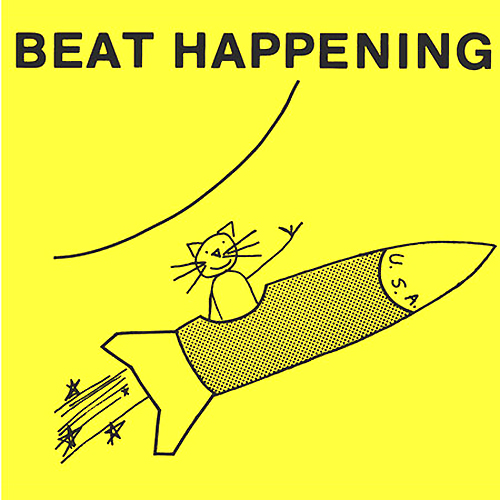 beat happening artwork with cat in spaceship art