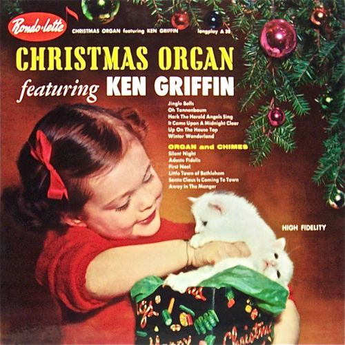 christmas organ featuring ken griffin vinyl lp record album with cat cover artwork