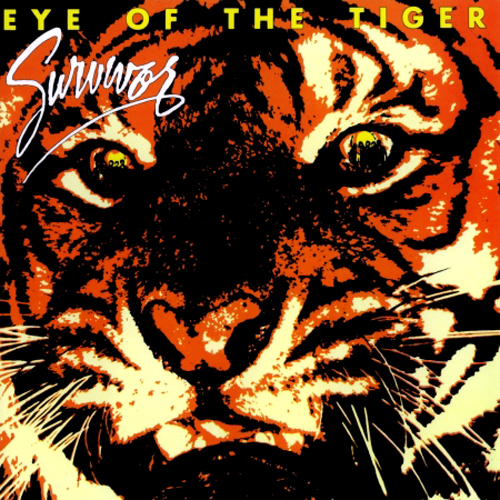 survivor eye of the tiger lp album cover with cat cover artwork