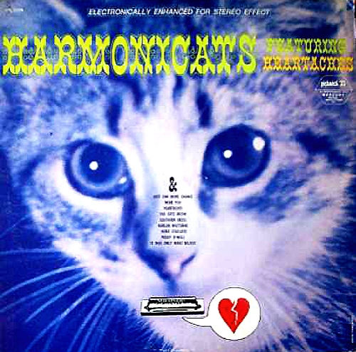 harmonicats featuring heartaches lp record album cover with cat artwork