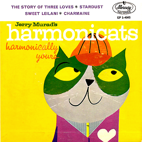 Jerry Murad's Harmonicats Harmonically Yours vinyl record cover with cat artwork