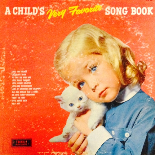 a child's very favorite song book vinyl record album with girl and cat kitten cover art