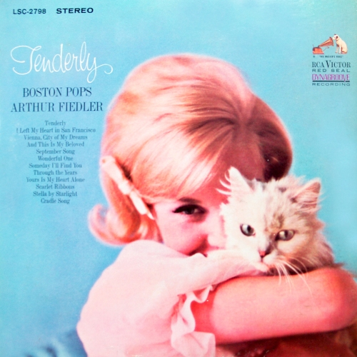 arthur fiedler and boston pops tenderly vinyl record album with girl and cat kitten cover art