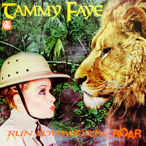 tammy faye bakker run toward the roar ptl club vinyl record album with girl and cat lion cover art