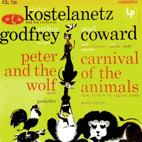 kostelanetz godfrey coward carnival of the animals vinyl record album with lion cat cover art