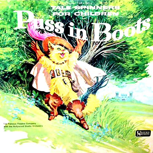 puss in boots tale spinners for children lp vinyl record album with cat cover artwork