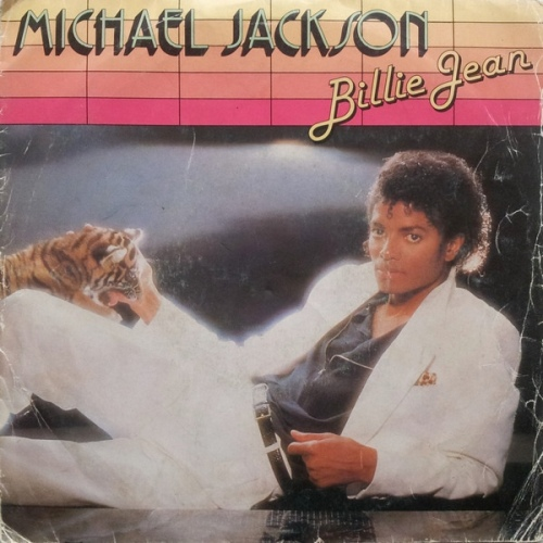 michael jackson billie jean 45rpm single record picture sleeve with tiger cat artwork