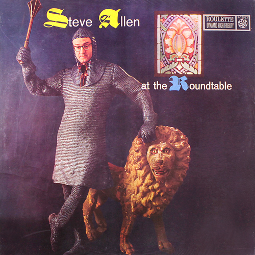 steve allen at the roundtable lp record album with cat lion cover artwork