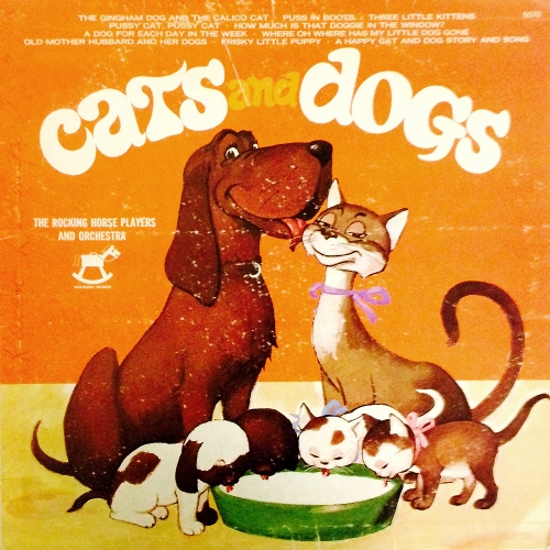 the rocking horse players cats and dogs vinyl record album with girl and cat kitten cover art