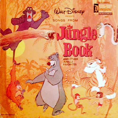 walt disney presents songs from the jungle book vinyl lp record with tiger panther cat cover artwork