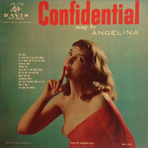 Angelina 'Confidential' 1957 Nude Topless Cheesecake LP Joe Davis Records JD-112