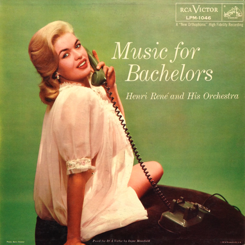 Henri Rene Music For Bachelors 1956 LP with Cheesecake Cover featuring Jayne Mansfield RCA-Victor LPM 1046