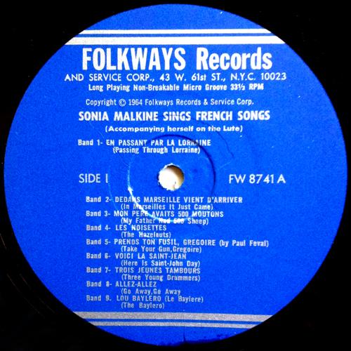 Sonia Malkine Sings the French Songs Folkways FW 8741 Label